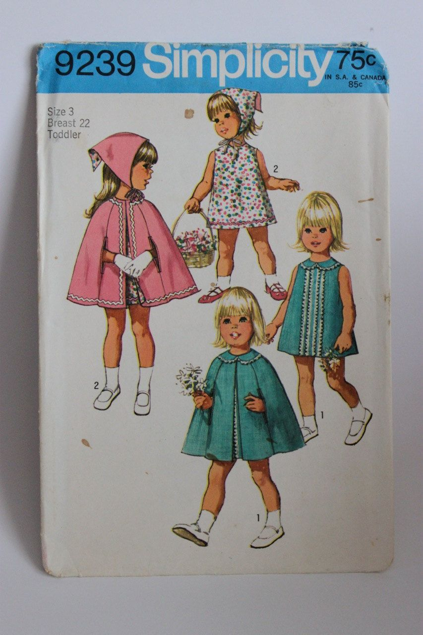 Vintage Toddler Dress and Cape Pattern - Size 3 - Simplicity 9239 ...