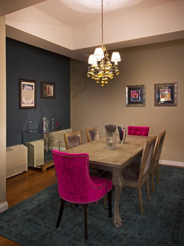 Bright Fuchsia Dining Chairs Add Glam To This Contemporary Dining Room.  Each Upholstered Chair Is Accented With Nail Head Trim, While A Navy Blue  Accent ...
