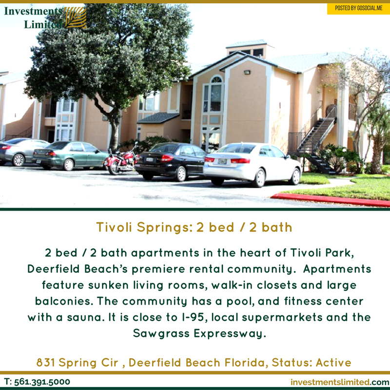 Tivoli Springs 2 Bed 2 Bath Investmentslimited Bocaraton Realtor Mizner Royalpalm Florida Miami Realstate Tivoli Sunken Living Room Bath Apartments