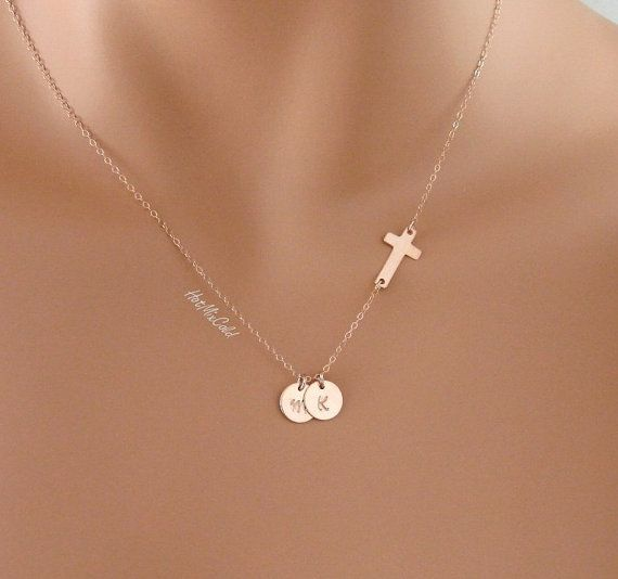 TWO Rose Gold initials charm and Sideways cross by hotmixcold, $37.00