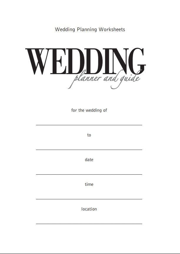 It is a picture of Crafty Free Printable Wedding Planner Worksheets