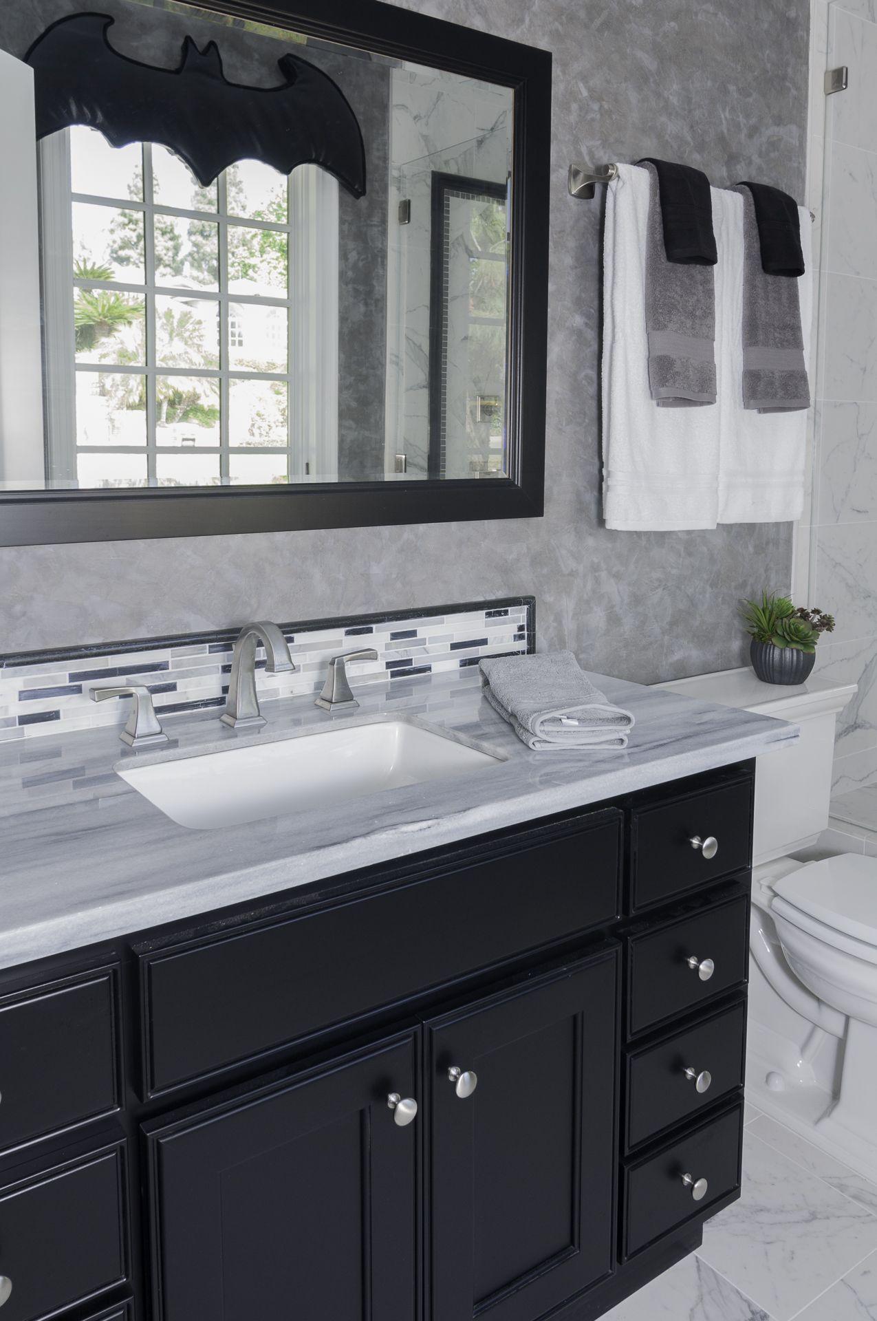 Gray & White Tile bathroom with Venetian Plaster Walls, Superhero ...