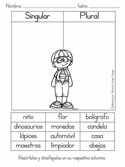 Singular plural | hojas de trabajo | Pinterest | Spanish, Language ...