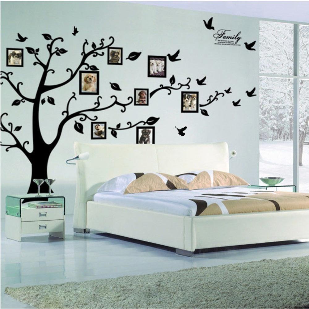 Large xcmxin black d diy photo tree pvc wall decals