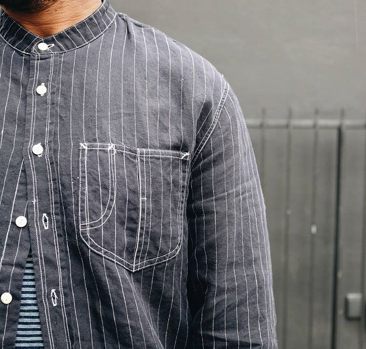 Palette of grey- striped shirt and border tee