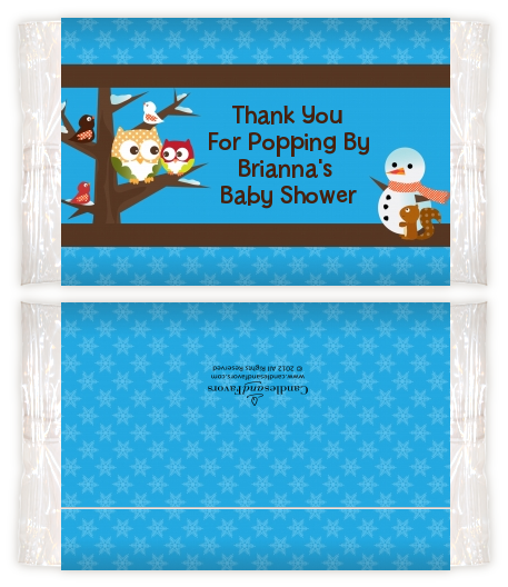 Owl Winter Theme Or Christmas Personalized Popcorn Wrapper Baby