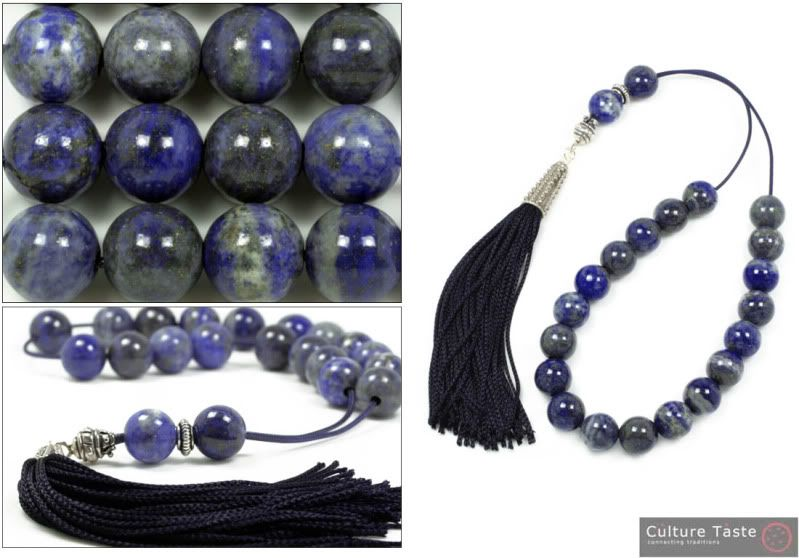 Handmade worry beads (komboloi), made of natural lapis lazuli gemstone.    Beads are carved in round shape and come in their natural colour, a rich variety of blue shades.    An elegant, impressive piece in a valuable material, suitable for use and for all range collectors.                                                                                                                                                                                                             Lapis Lazuli ...