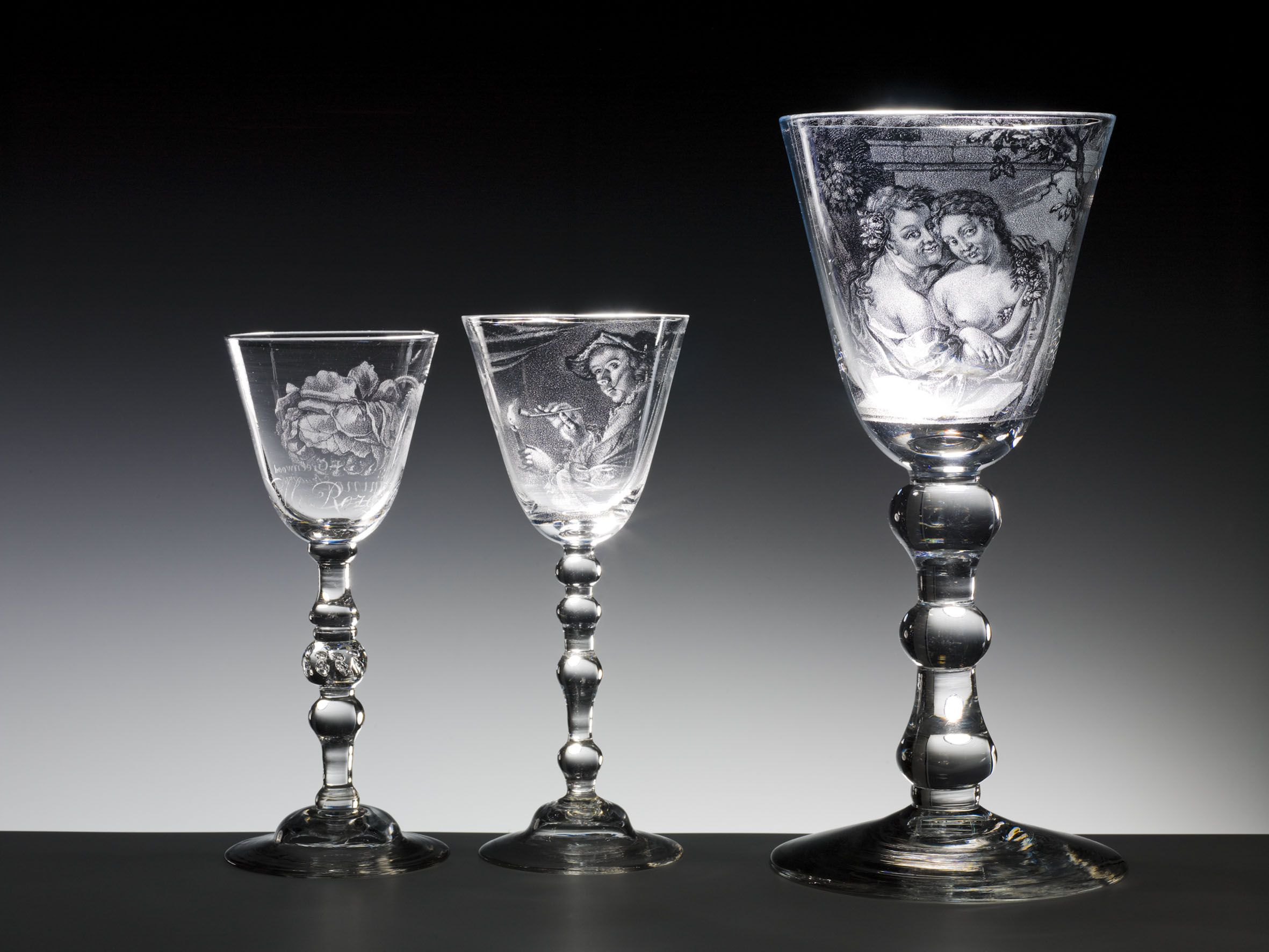 glasses with stipple engraving by Frans Greenwood, The Netherlands or England, diamond-point stipple engraving: Frans Greenwood (1680-1763), Dordrecht 1746, clear colourless lead glass, h. 20.5 cm, h. 21.3 cm, h. 28.6 cm -pi (2362×1773)
