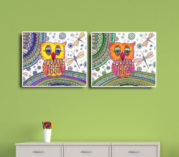 OWLS FANTASY POSTER WALL ART PICTURE PRINT LARGE