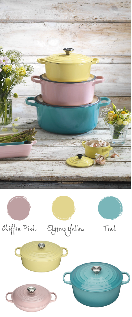 Pastels cookware from Le Creuset