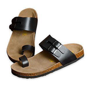 ad55ada80fed9 Black US Size 10 Flexible Straps Manmade Sole Toe Loop Men Sandal ...