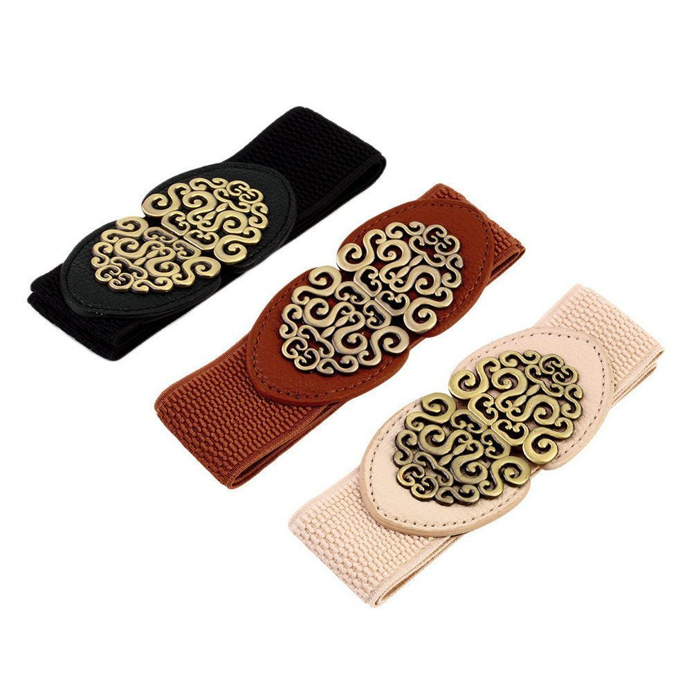 Women Retro adjustable Flower Elastic Stretch Buckle Wide Waist Belt Waistband