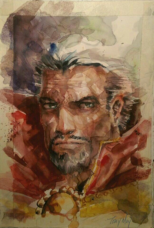 #Doctor #Strange #Fan #Art. (Dr. Strange Watercolor Portrait) By: Dreamflux1. (THE * 5 * STÅR * ÅWARD * OF: * AW YEAH, IT'S MAJOR ÅWESOMENESS!!!™)[THANK Ü 4 PINNING!!!<·><]<©>ÅÅÅ+(OB4E)