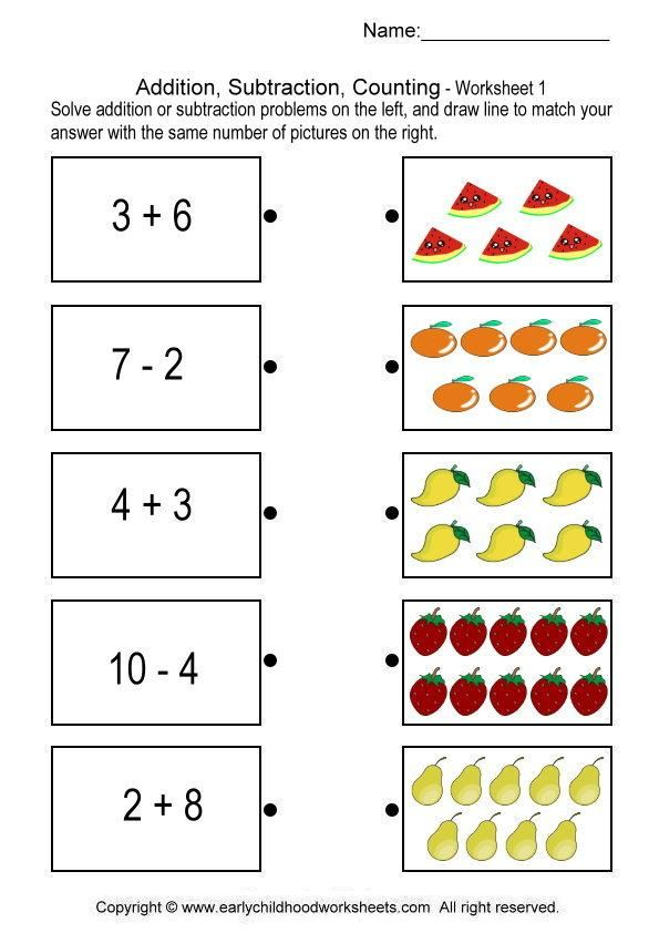 addition, subtraction, counting worksheet | MATEMATICA | Pinterest ...