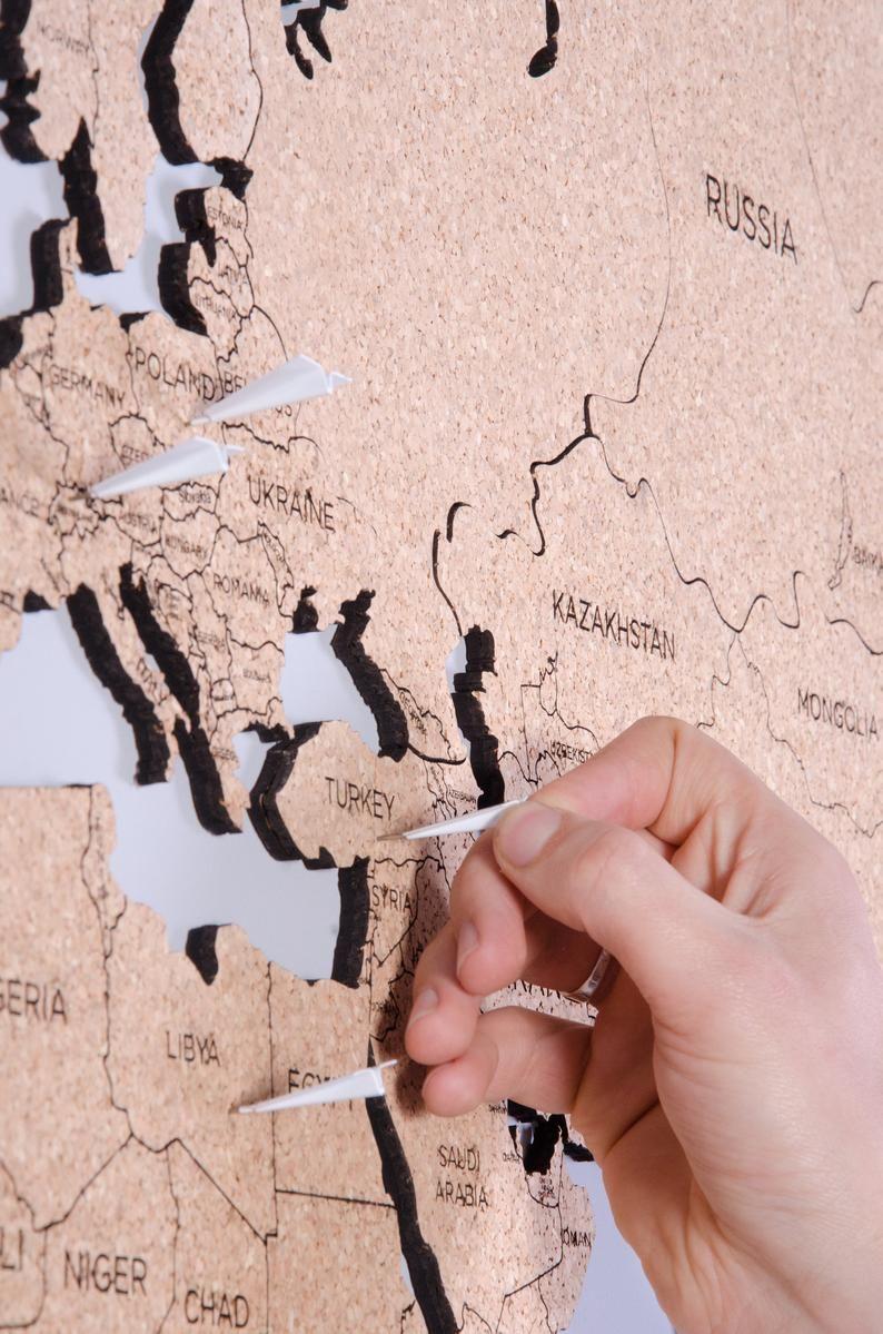 Travel Cork Push Pin World Map Wall Art Christmas Gift