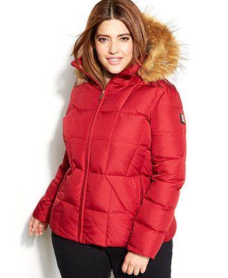 6c1005530 Calvin Klein Plus Size Faux-Fur-Trim Hooded Puffer Down Coat ...