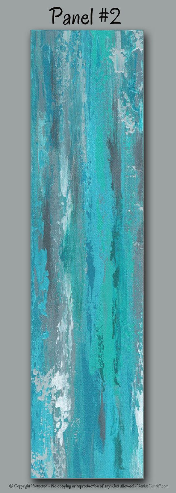 Large abstract wall art for gray teal and turquoise home or office