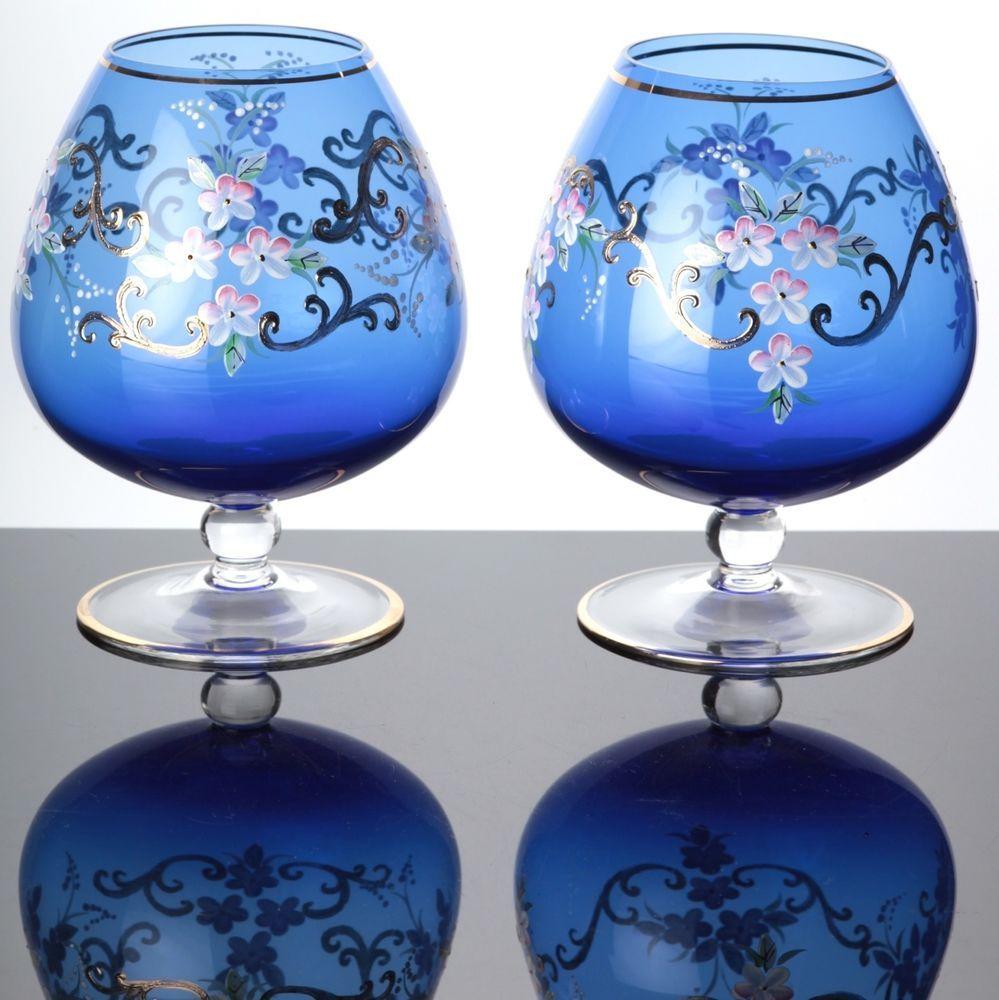 2 Xl Cognacglaser Grosse Cognacschwenker Bohemia Glas Blau Gold Blumen Glaser Cognacschwenker Glas Gold