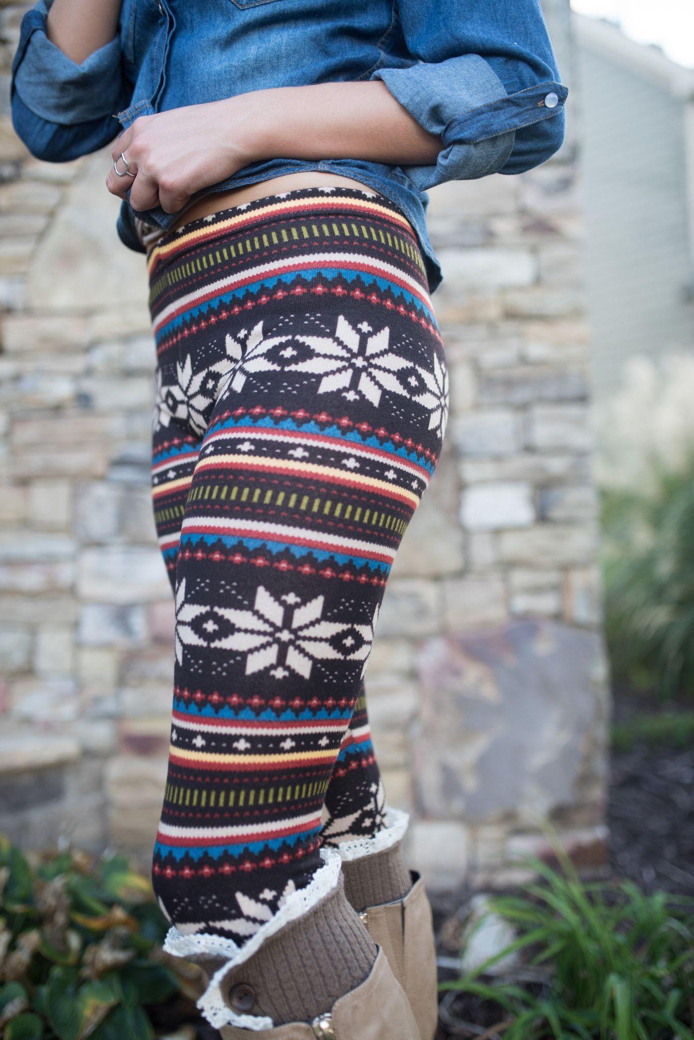 Winter Printed Leggings from Spool of Dreams