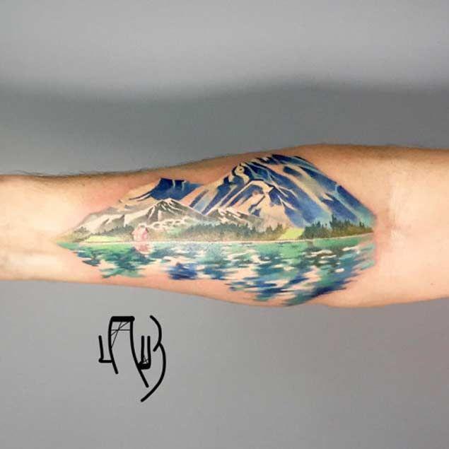 20 Scenic Landscape Tattoos Mountain Tattoo Mountains And Tattoo