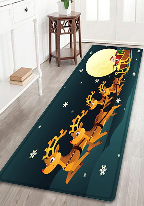 Christmas Night Deer Sleigh Pattern Indoor Outdoor Area Rug - Quality bathroom rugs for bathroom decorating ideas