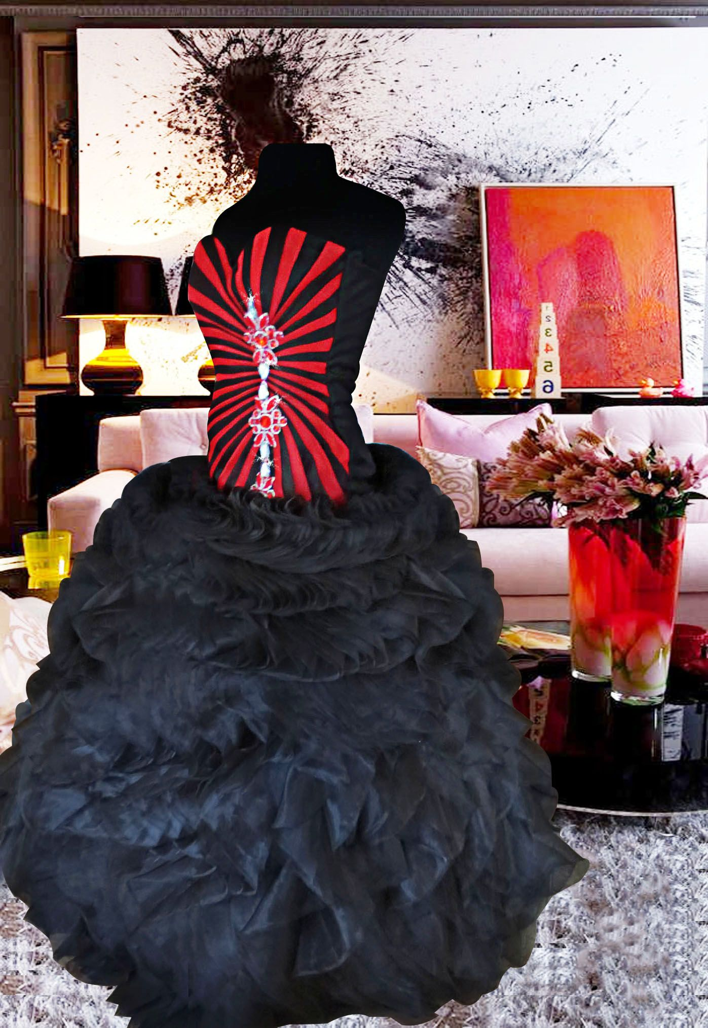 Pleated Black ball gown black and red ball gown black gown red gown ...