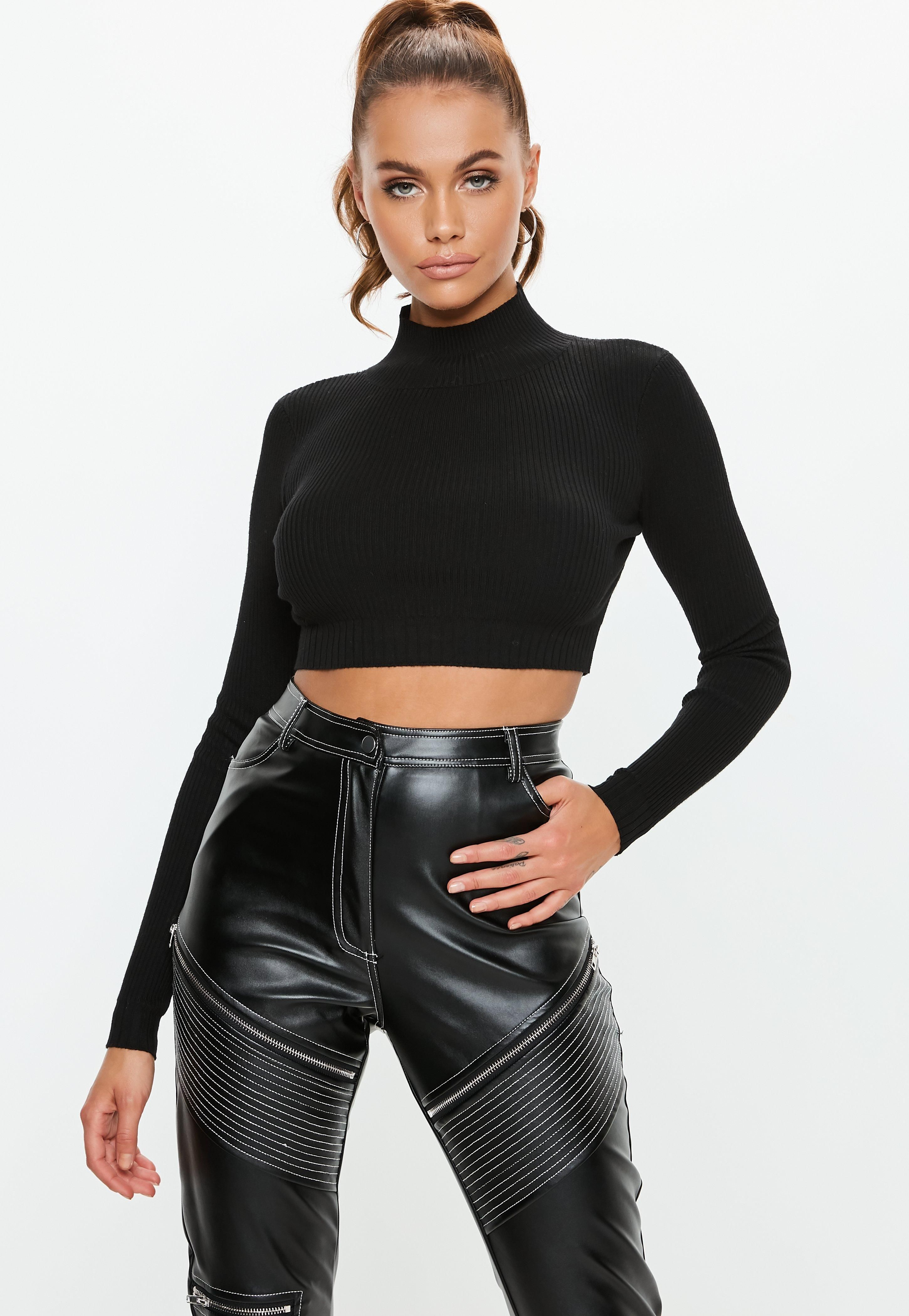 cb69129a88d70 black-knitted-high-neck-ribbed-crop-top
