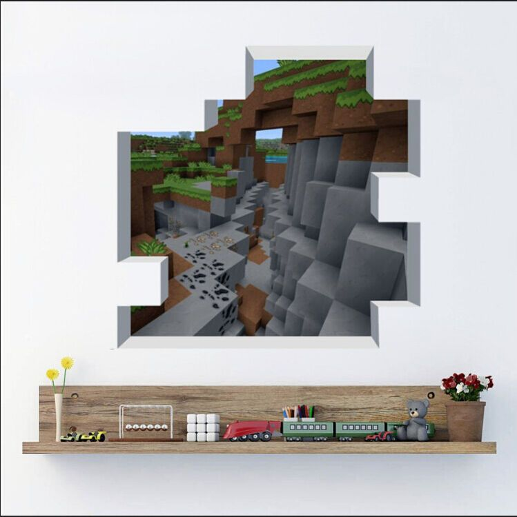 cute minecraft wall stickers wallpaper kids room decal home