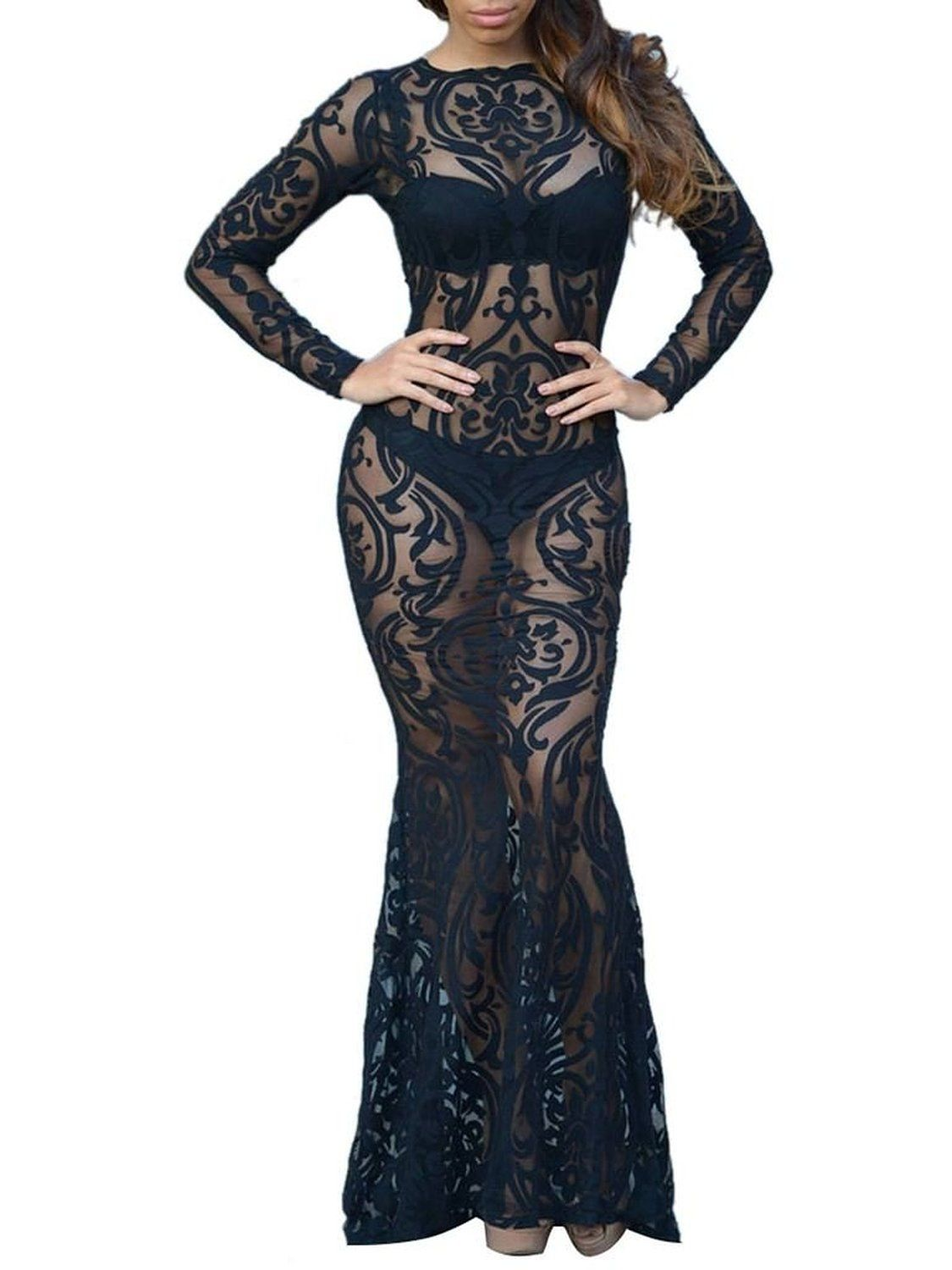 Clothink women whiteblack long sleeve paisley sheer lace maxi dress