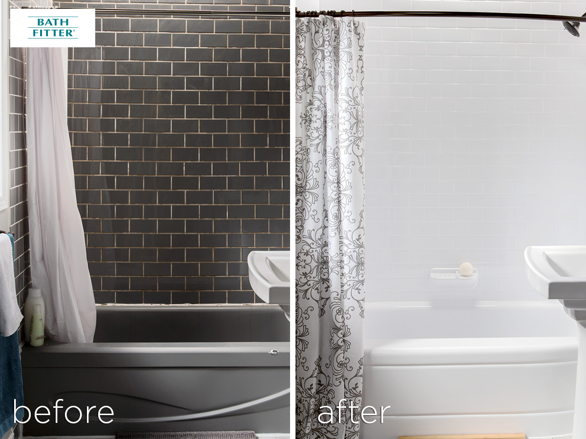 Thinking About A Bathroom Reno Look At What Can Happen In Just A Day Bath Fitter Bathtub Shower Remodel Shower Remodel