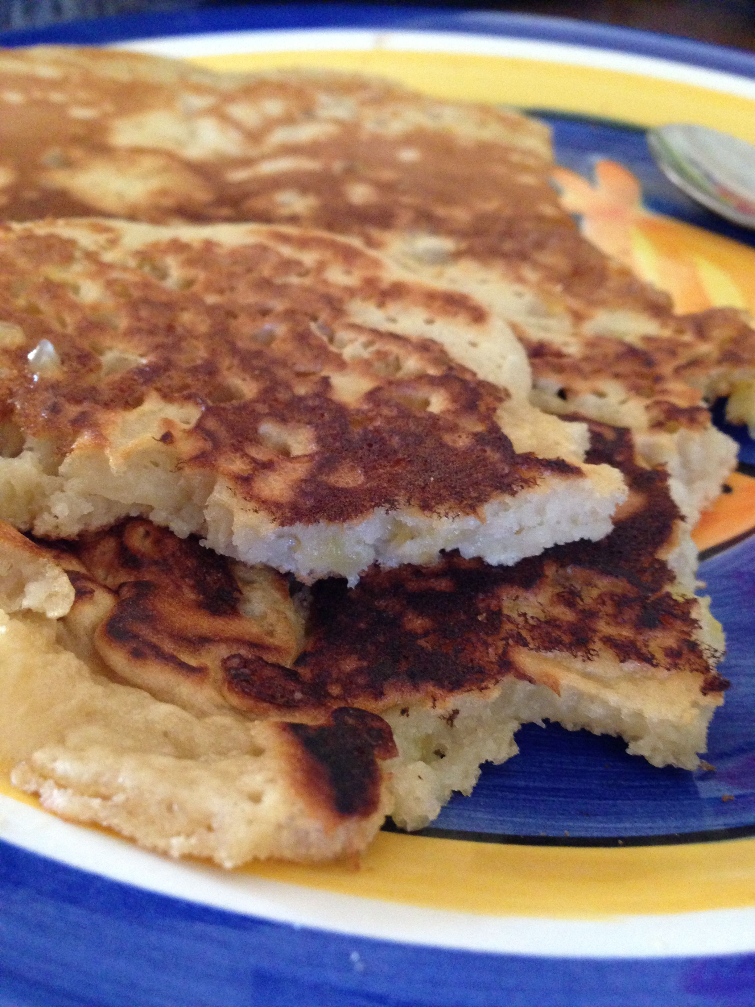 Breakfast pancakes.. I came up with this  recipe this morning and it is delicious!  1 cup whole wheat self raising flour 1 cup almond milk 1 egg 1 banana, thin slices Half an apple, peeled & sliced finely 1 tablespoon brown sugar Mix all ingredients together and cook in fry pan until golden brown.... Eat, enjoy!
