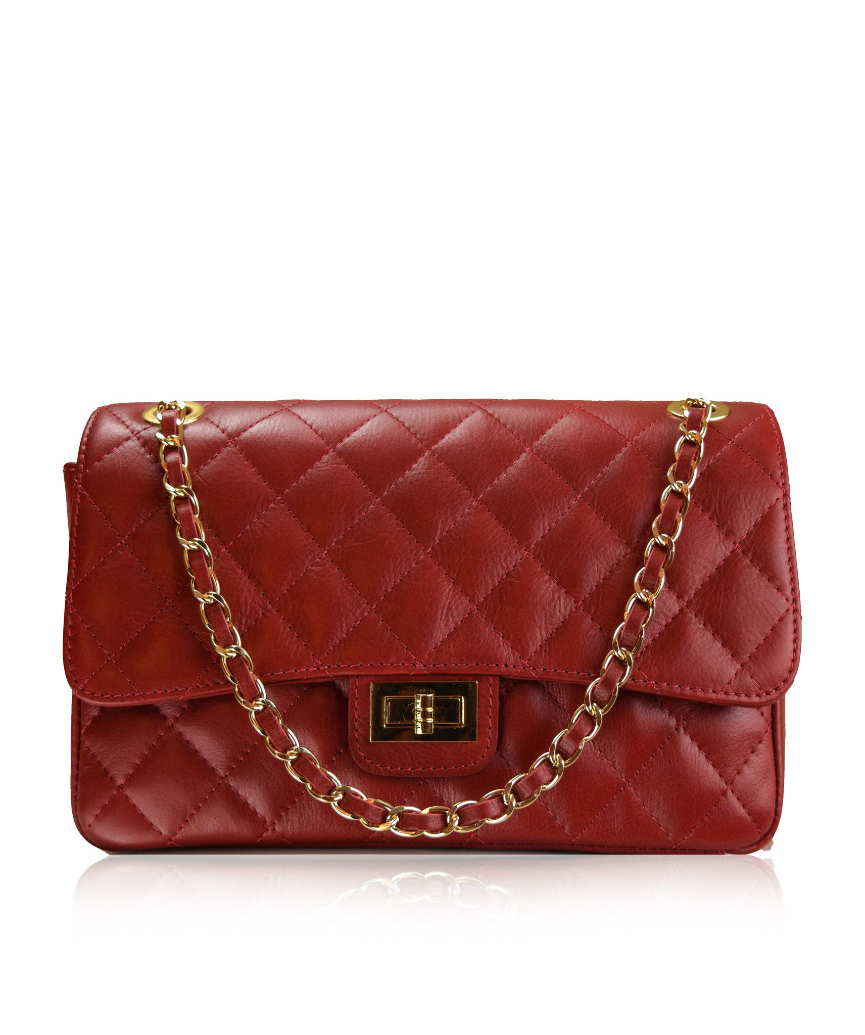 Stretto Medium Red Chanel Style Italian Quilted Leather Handbag From Florence Collection