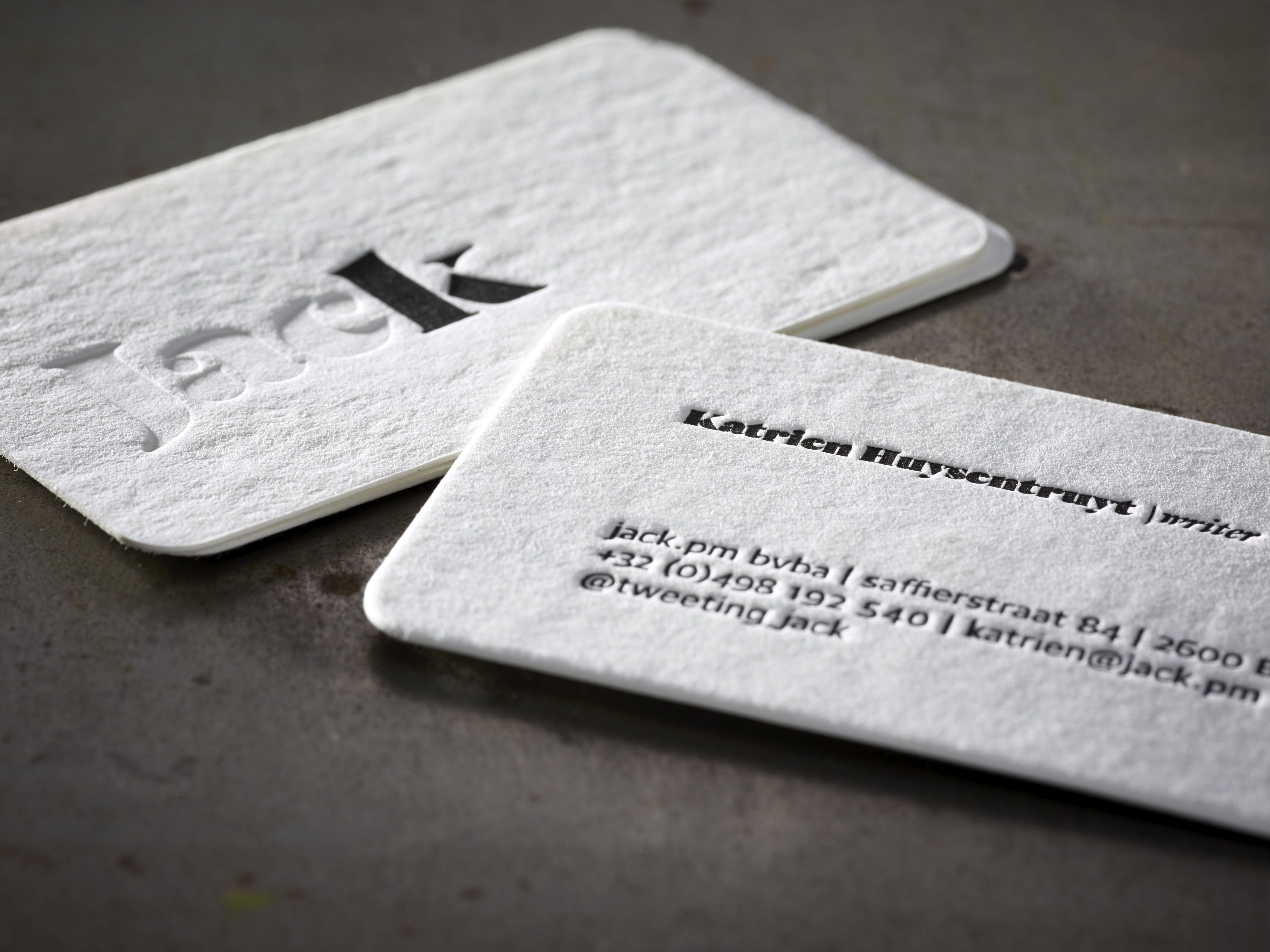 letterpress business cards neutral and black rounded corners