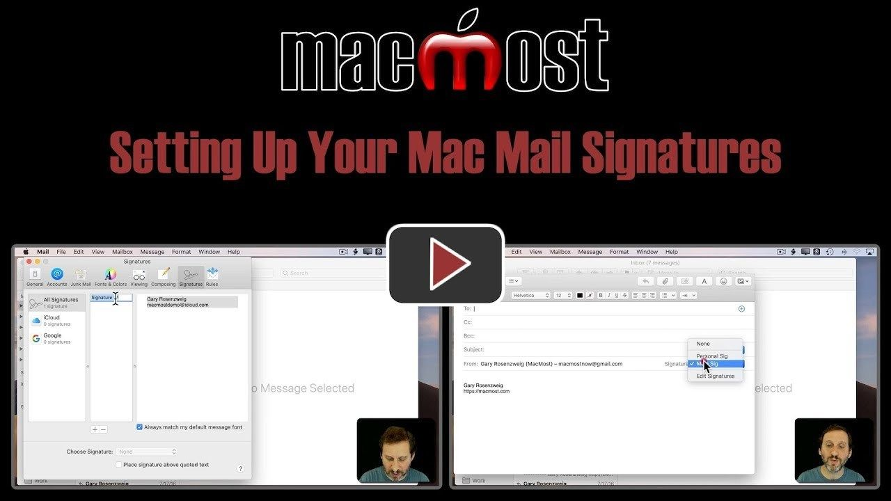 Setting Up Your Mac Mail Signatures (MacMost 1828) Mail