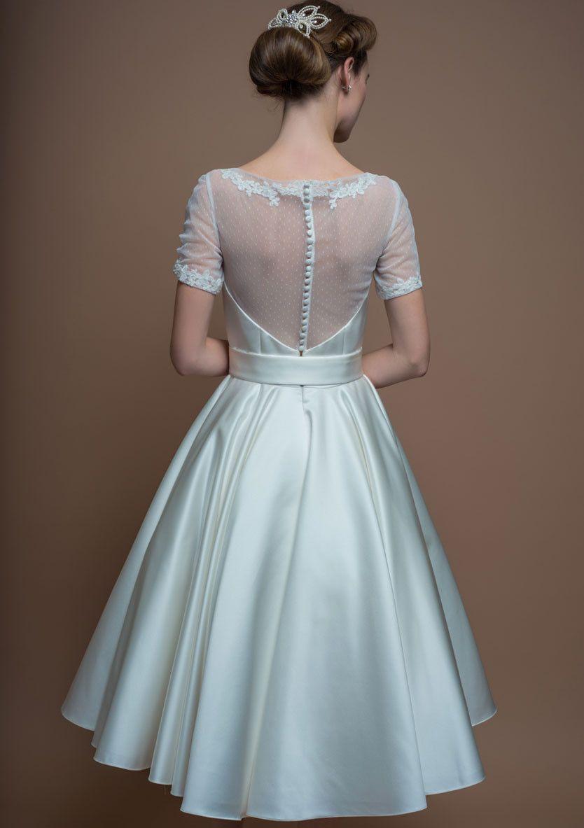 86-phoebe Tea length satin dress with full circular skirt and spot ...