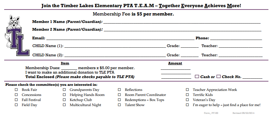 This is an example of a PTA membership form  Individuals who
