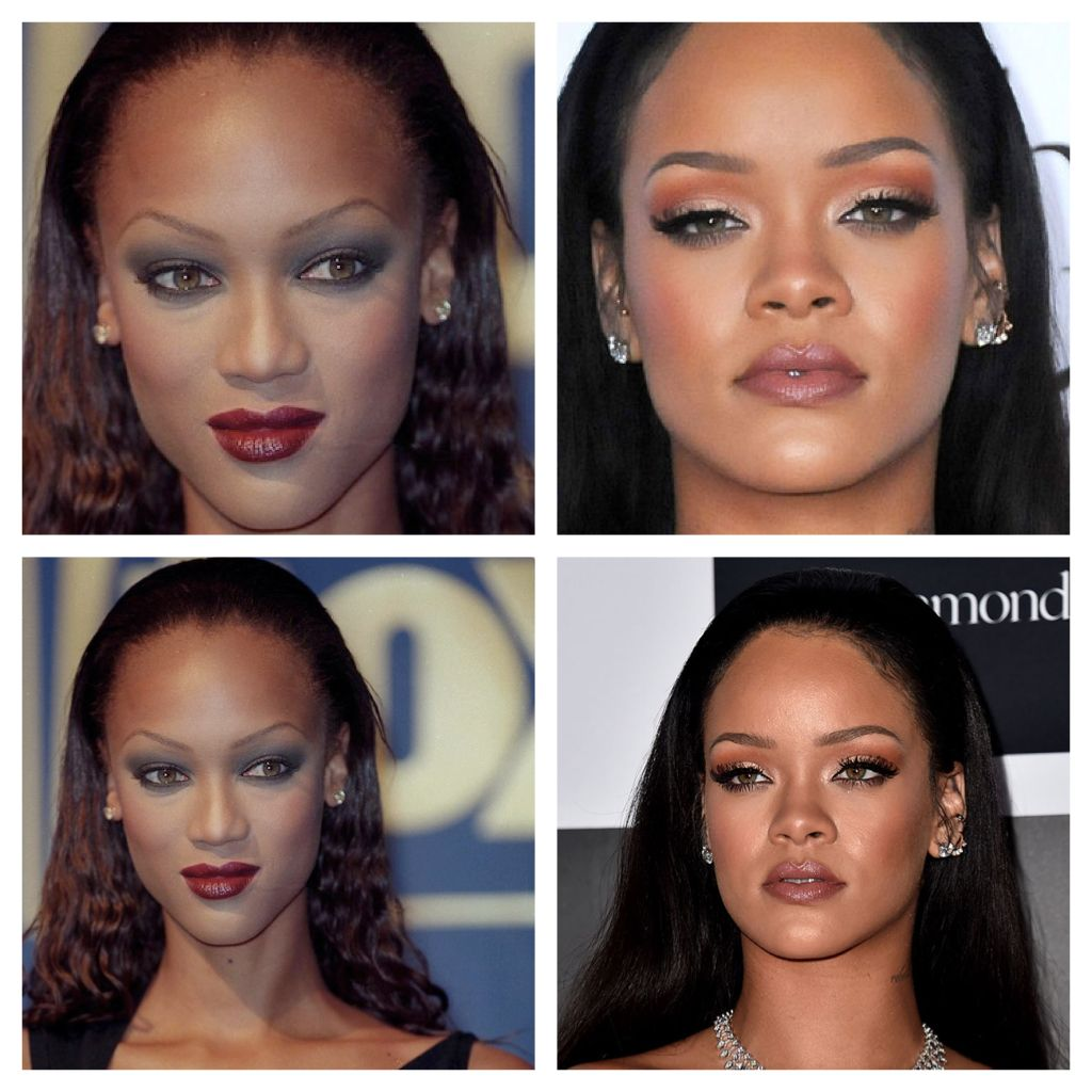 Tyra Banks (2001) vs Rihanna (2015) - Tyra Banks was known for presenting  her big forehead with this hairstyle togethe… | Tyra banks forehead,  Rihanna, Big forehead
