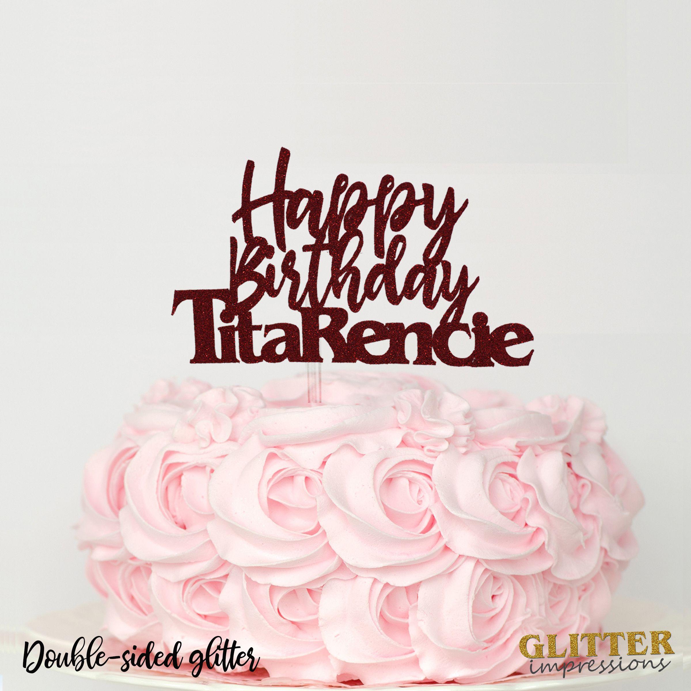 Custom Name Birthday Cake Topper Personalized Cursive Font Glitter Sparkly