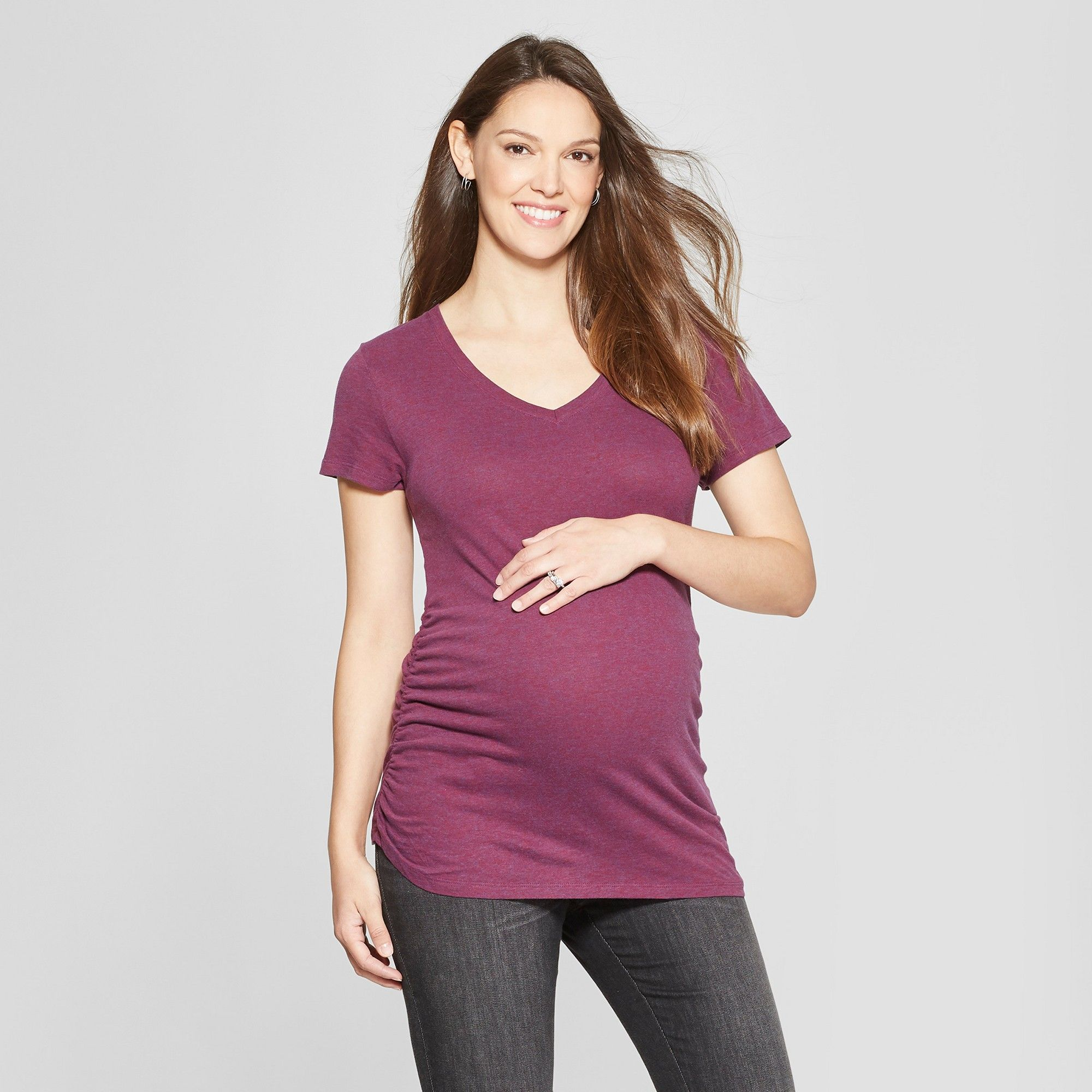 d708db41e6b18 Maternity Short Sleeve Core Side Shirred V-Neck Tee - Isabel Maternity by  Ingrid & Isabel Berry Heather Xxl