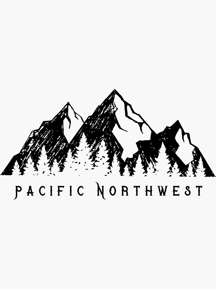 Pacific Northwest Mountain Range And Pine Trees 2 Sticker By Tarasab In 2021 Small Mountain Tattoo Mountain Tattoo Simple Mountain Silhouette