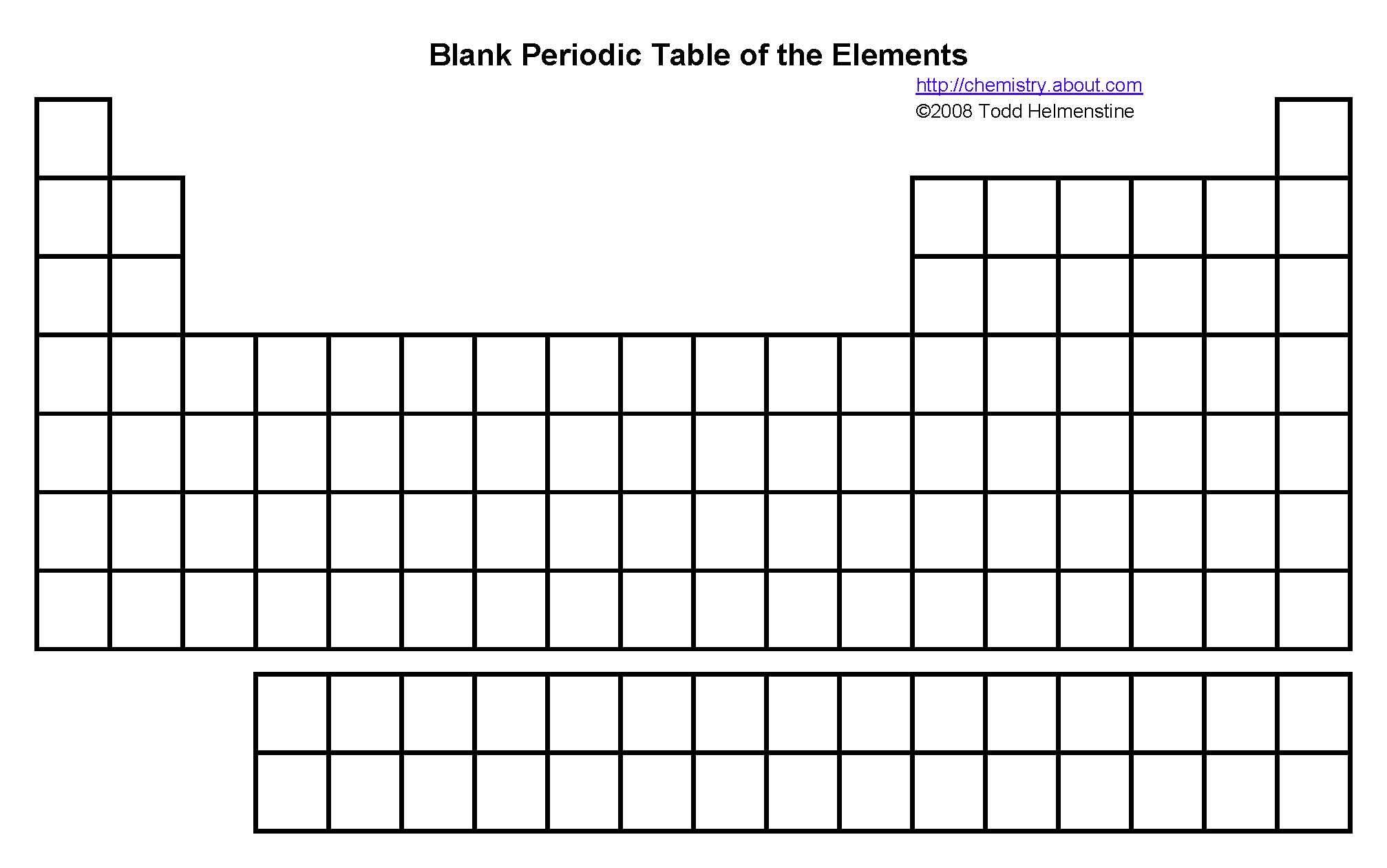 hight resolution of blank periodic table printable to test on element placements