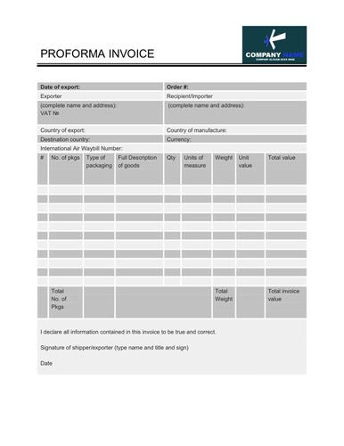 Proforma Invoice Template with Banded Rows Invoice Templates - proforma invoice
