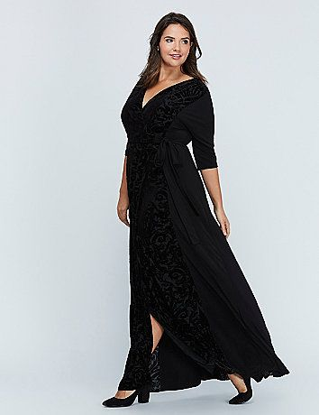 511d8dedbf2 Ornate Velvet Maxi Wrap Dress by Kiyonna