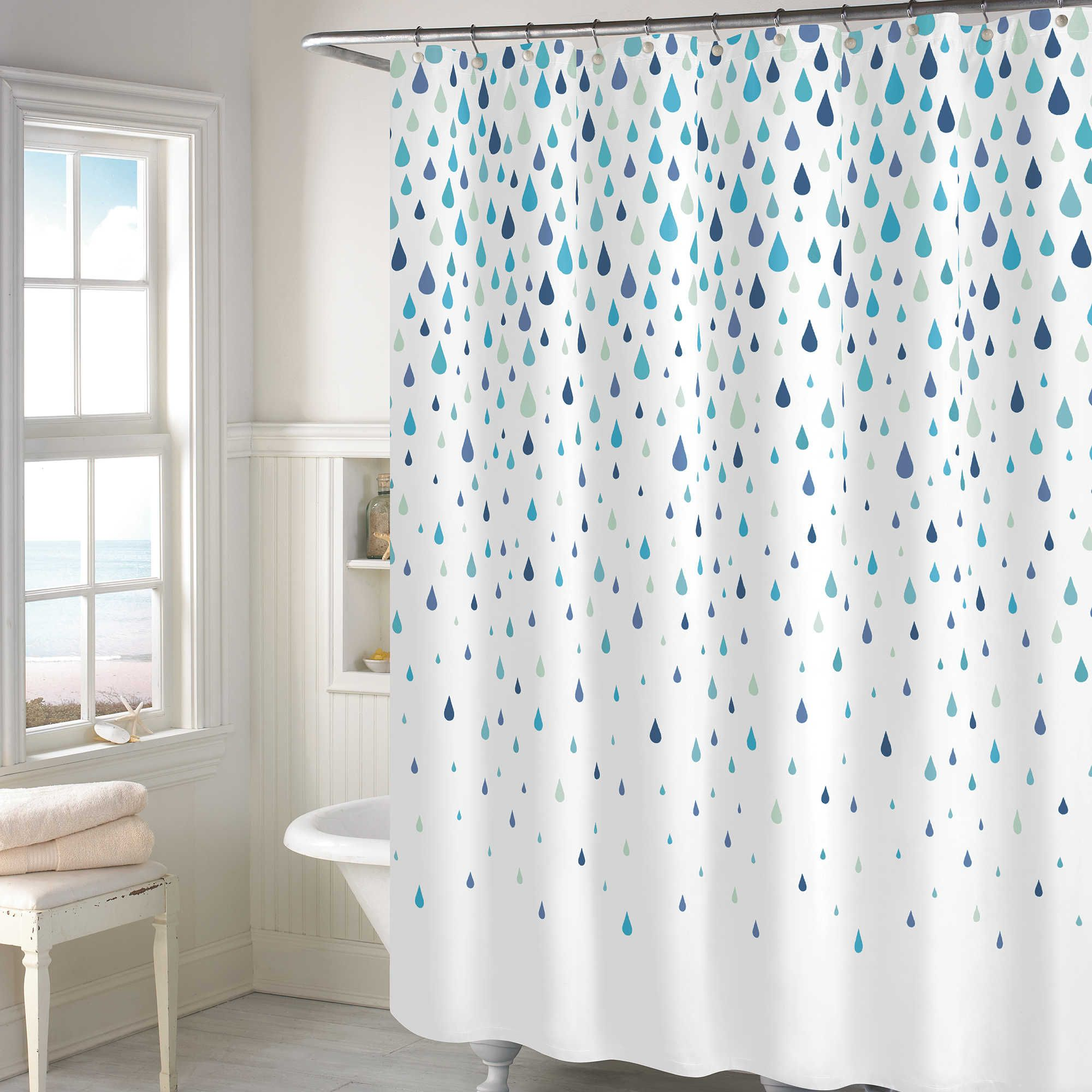 Rainy Days Shower Curtain In Aqua Shower Bathroom Cost Aqua