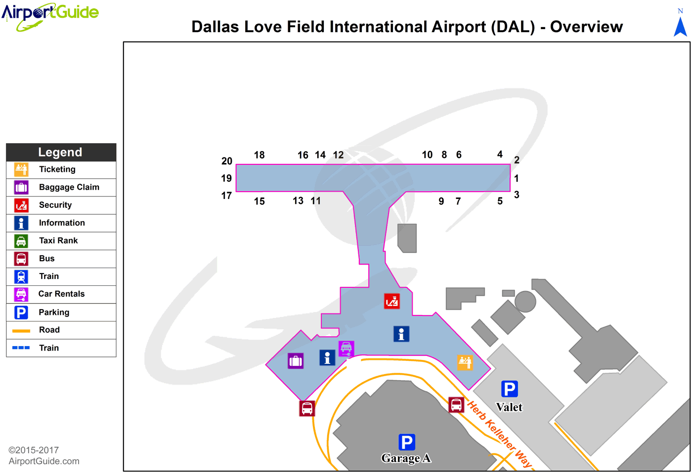 Dallas - Dallas Love Field (DAL) Airport Terminal Map - Overview ...