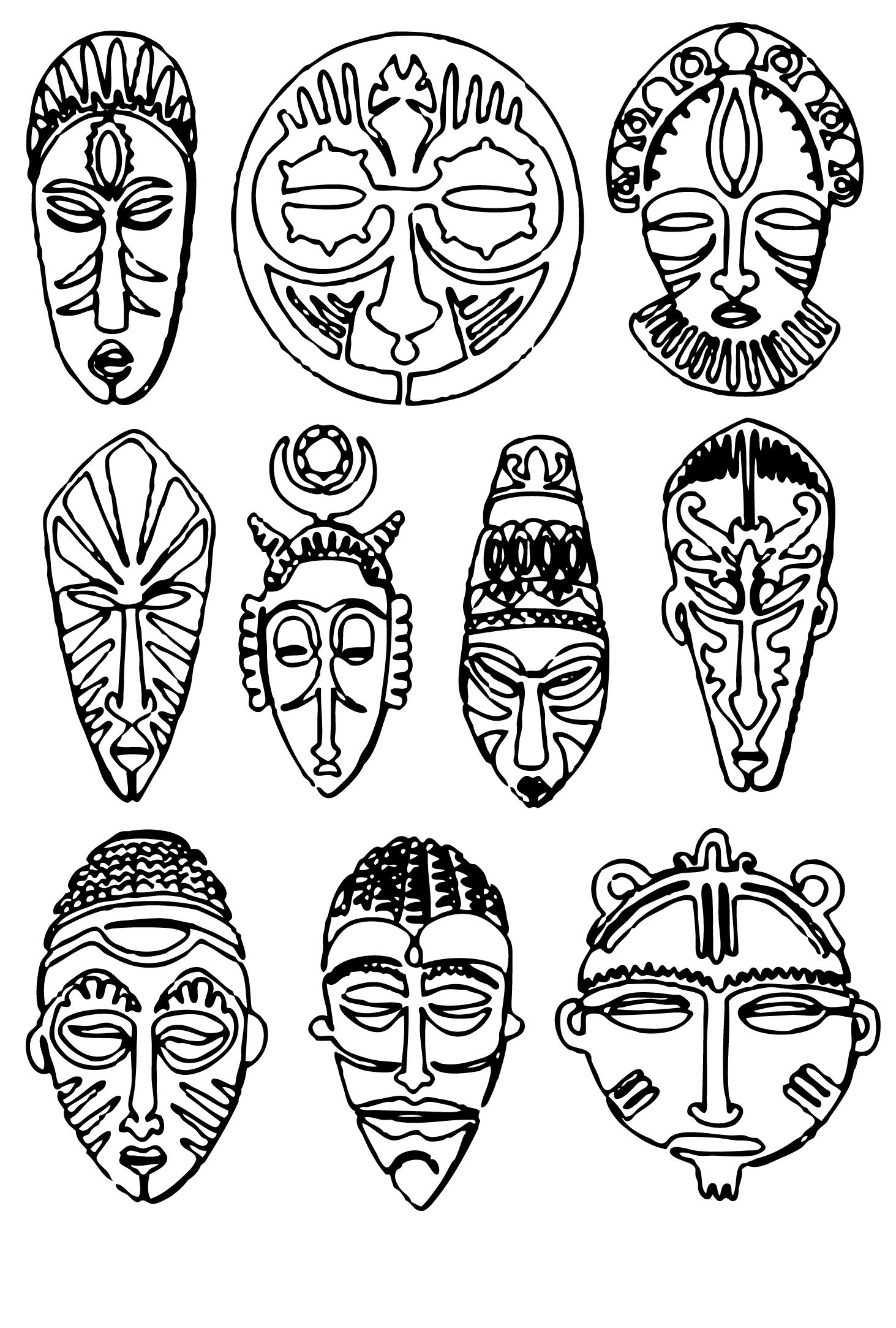 African tribal coloring pages ~ African Tribal Masks Coloring Pages Coloring Pages