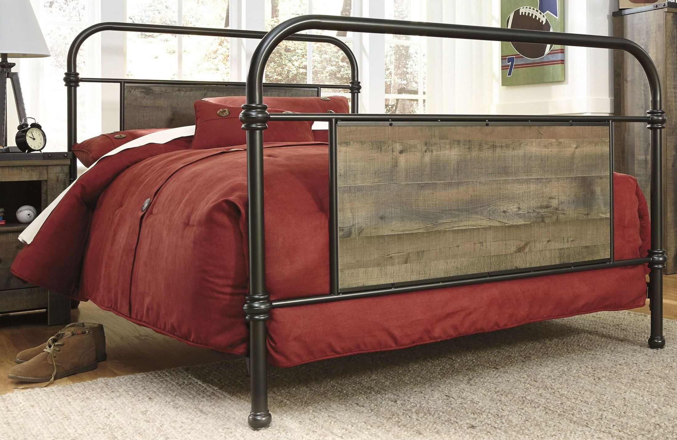trinell brown metal full panel bed caden s new room caden s new