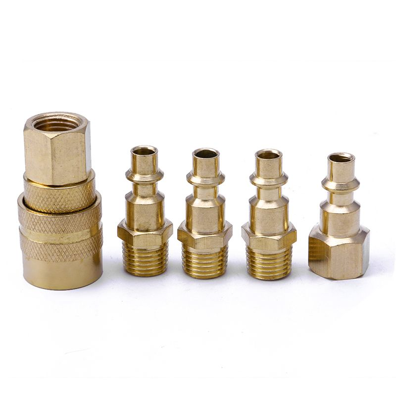 5pcs High And Low Brass Quick Coupler Connector Adapter Conversion 1 4 Npt Tools Set Air Hose Hose Connector Plumbing Tools