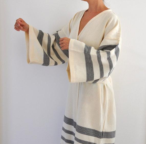 Robe Peshtemal Bath Robe Kimono Robe Caftan Turkish Bath Towel Long Extra  Soft Cotton Obi Belt Ivory Black Eco Friendly Gifts 25b178612