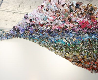 Jacqui Symons - love this instillation of hanging origami paper boxes.